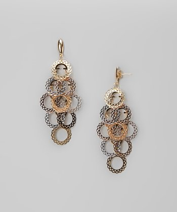 Tricolor Filigree Dangling Earrings