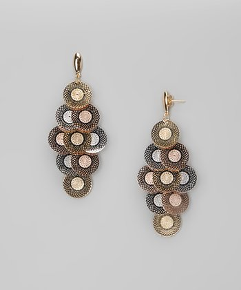 Tricolor Dangling Circles Earrings