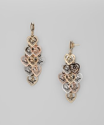 Tricolor Heart & Flower Dangle Post Earrings