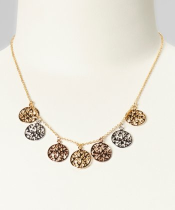 Tricolor Filigree Charm Necklace