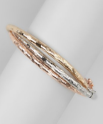 Silver, Rose & Gold Shiny Bangle Set