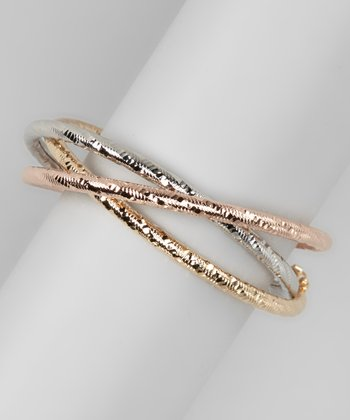 Silver, Rose & Gold Textured Bangle Set