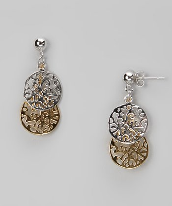 Gold & Sterling Silver Filigree Dangling Post Earrings