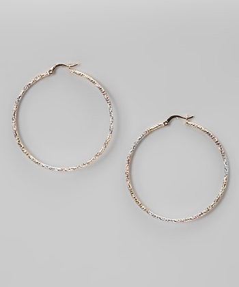 Tricolor Hammered Wire Hoop Earrings