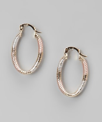 Tricolor Spiral Oval Hoop Earrings