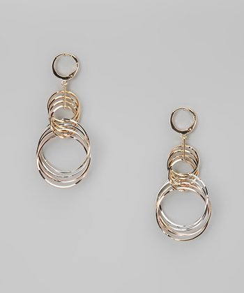 Tricolor Dangling Wire Hoop Earrings