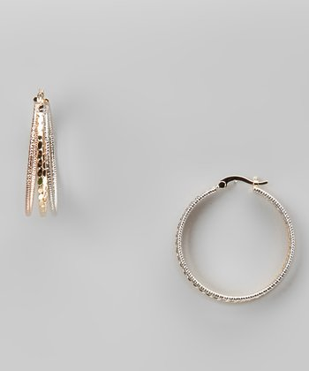 Tricolor Wire Hoop Earrings