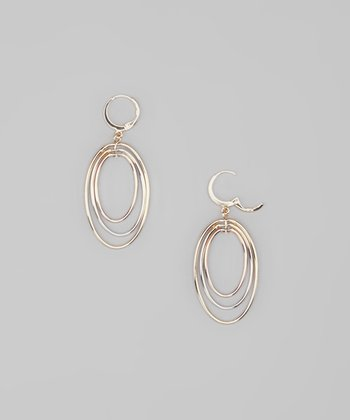 Tricolor Wire Concentric Oval Earrings