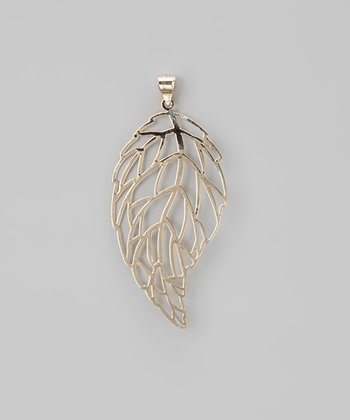 Tricolor Filigree Leaf Pendant