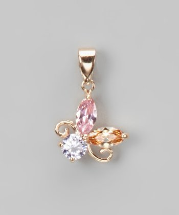 Cubic Zirconia & Rose Gold Post Pendant