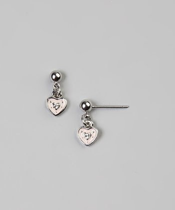 Pink & Silver Heart Earrings