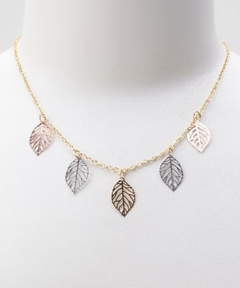 Silver & Gold Leaves Charm Necklace
