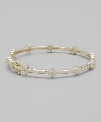 White & Gold Flower Bangle