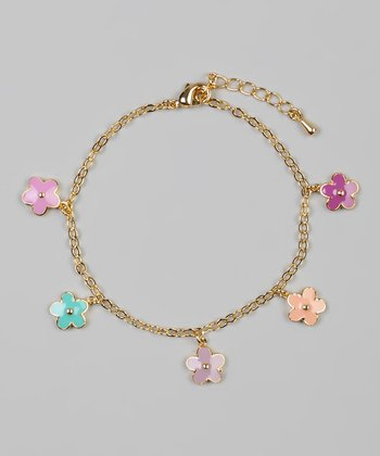 Pink & Purple Flower Bracelet