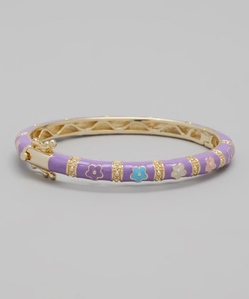 Lavender, Blue & Pink Flower Bangle