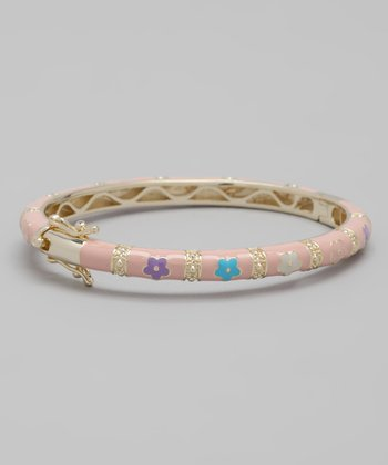 Pink & Blue Flower Bangle
