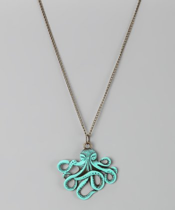 Aqua Octopus Pendant Necklace