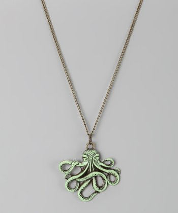 Mint Octopus Pendant Necklace