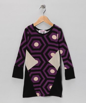 Purple & Black Jill Dress - Girls