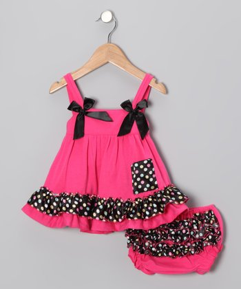 Hot Pink Polka Dot Swing Dress & Diaper Cover - Toddler