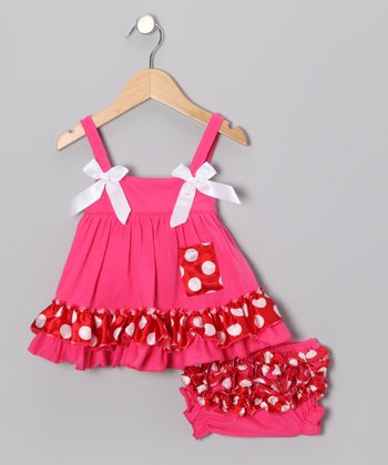 Hot Pink & Red Polka Dot Swing Dress & Diaper Cover - Toddler