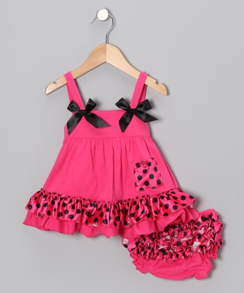 Hot Pink & Black Polka Dot Swing Dress & Diaper Cover - Toddler