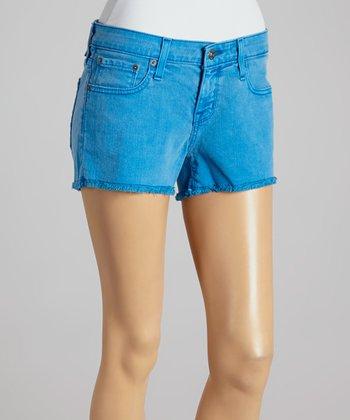Big Star Neon Blue Fray Cutoff Shorts - Women