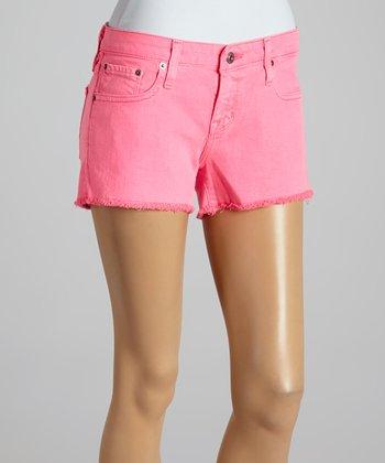 Big Star Neon Pink Remy Fray Cutoff Shorts - Women