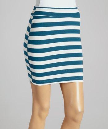 Big Star Teal & White Stripe Ginger Miniskirt - Women