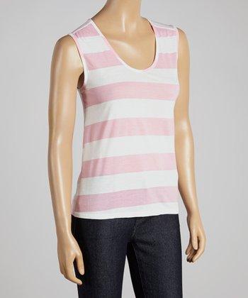 Big Star Pink & White Stripe Aspen Tank - Women