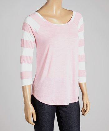 Big Star Pink Stripe Kamryn Raglan Top - Women