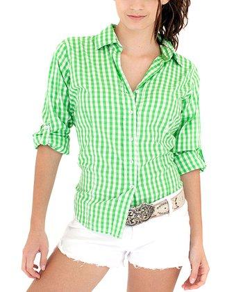 Cino Green Gingham Button-Up - Women