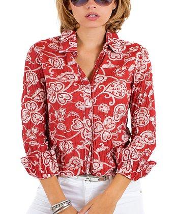 Cino Red Bali Paisley Button-Up - Women
