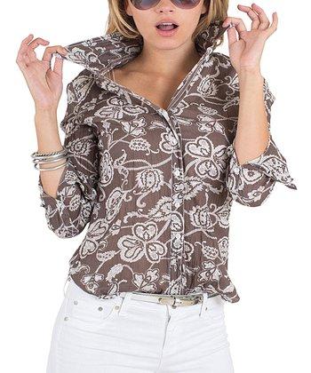 Cino Brown Bali Paisley Button-Up - Women