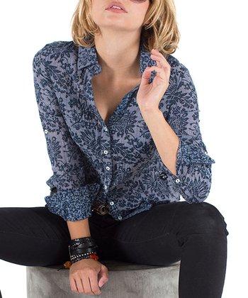 Cino Indigo Indo Floral Button-Up - Women