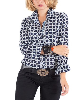 Cino Dark Indigo Clover Button-Up - Women