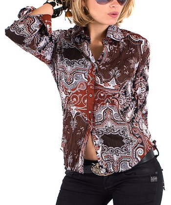 Cino Brown Ornamental Button-Up - Women
