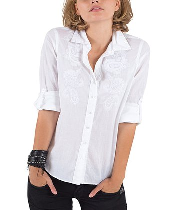 Cino White Embroidered Paisley Button-Up - Women