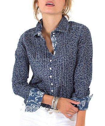 Cino Indigo Stitch Floral Long Button-Up - Women