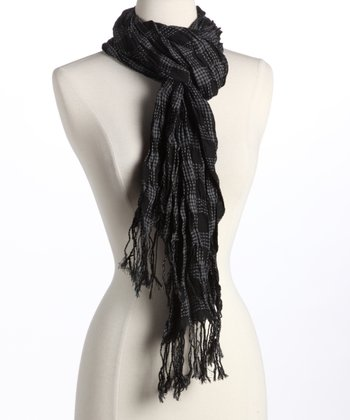 Black & Gray Plaid Scarf