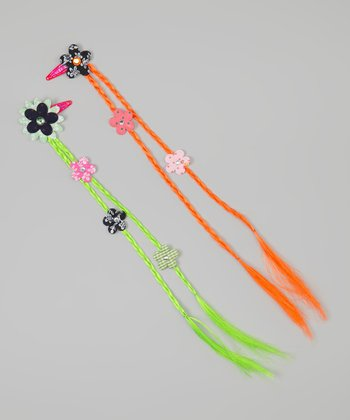 Orange & Green Braided Flower Hair Extension Set