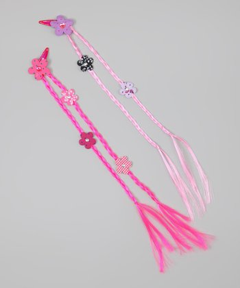 Hot Pink & Pink Braided Flower Hair Extension Set