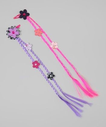 Hot Pink & Purple Braided Flower Hair Extension Set