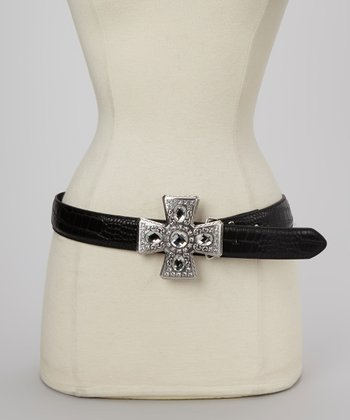 Black Crocodile Cross Belt