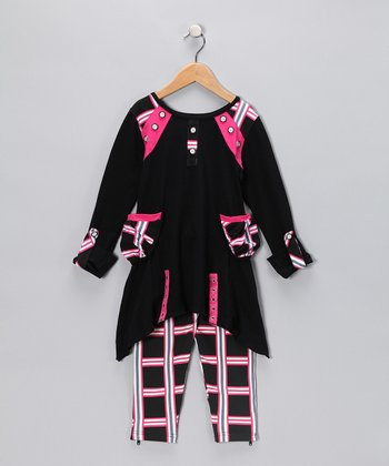 Hot Pink Plaid Sidetail Tunic & Leggings - Girls
