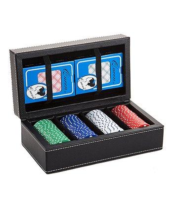 Black Leather Poker Set