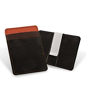 Black Leather Card Case & Money Clip