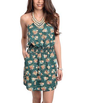 Dark Green Floral Blouson Strapless Dress