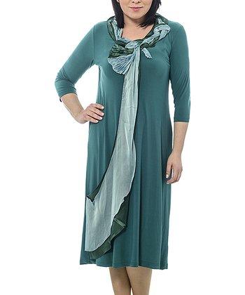 Green Braided Sash Shift Dress - Plus