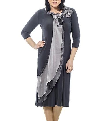 Anthracite Braided Sash Shift Dress - Plus